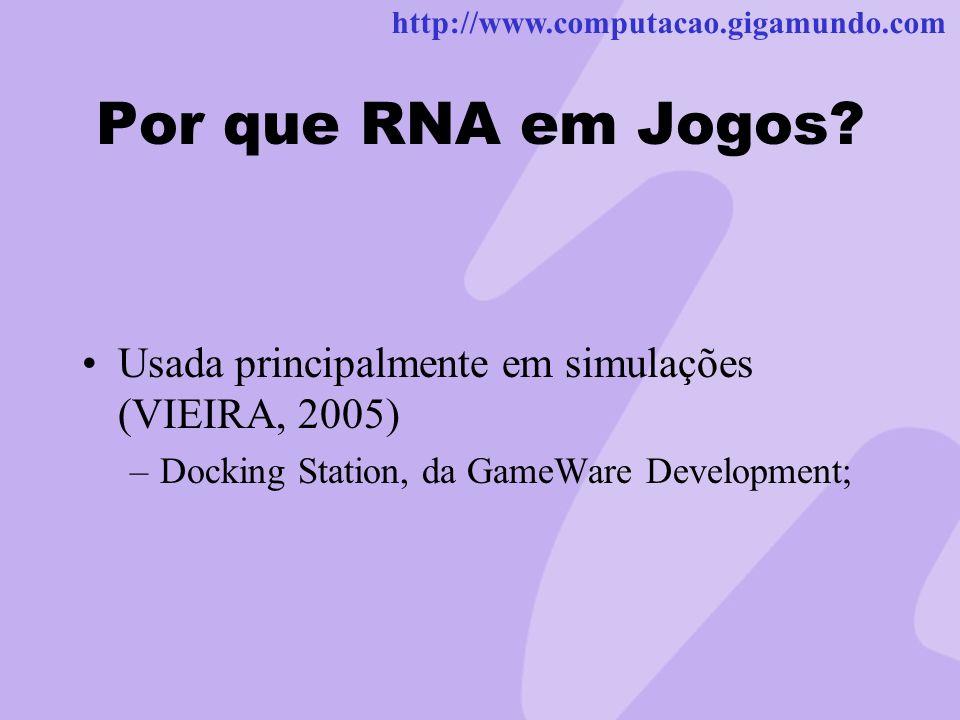 http://www.computacao.gigamundo.com Por que RNA em Jogos? Usada principalmente em simulações (VIEIRA, 2005) –Docking Station, da GameWare Development;