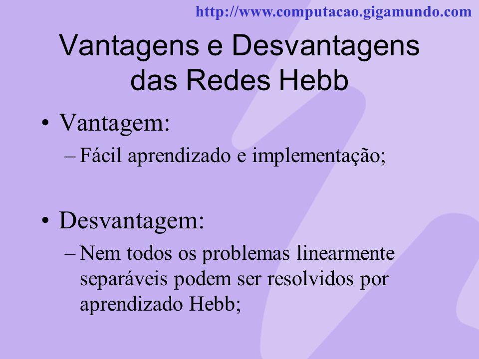 http://www.computacao.gigamundo.com Vantagens e Desvantagens das Redes Hebb Vantagem: –Fácil aprendizado e implementação; Desvantagem: –Nem todos os p