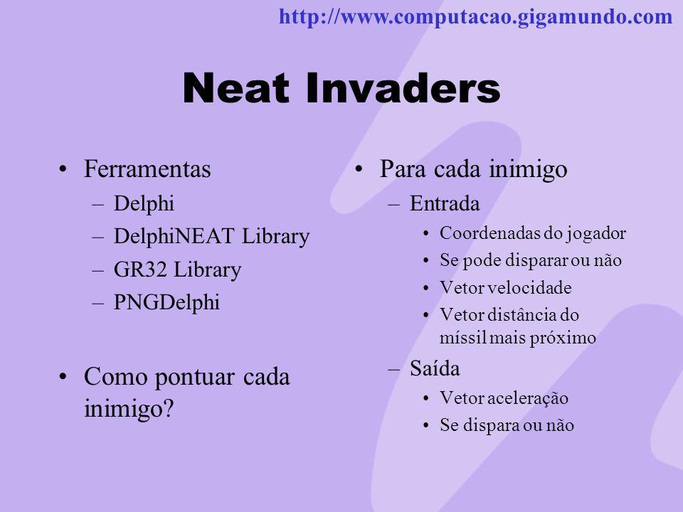http://www.computacao.gigamundo.com Neat Invaders Ferramentas –Delphi –DelphiNEAT Library –GR32 Library –PNGDelphi Como pontuar cada inimigo? Para cad