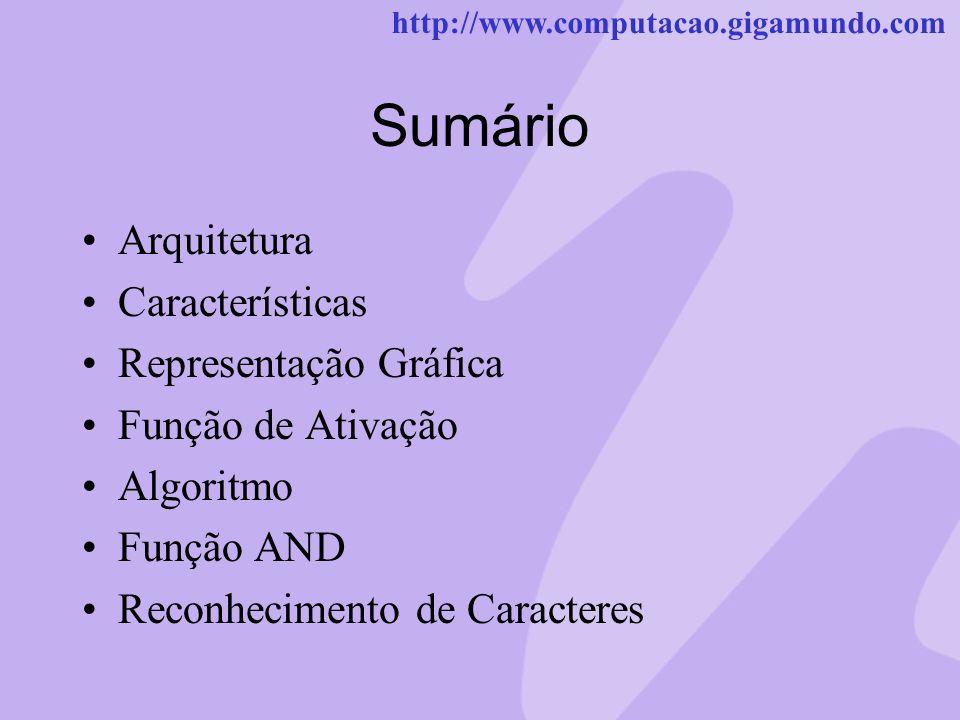 http://www.computacao.gigamundo.com Sumário Arquitetura Características Representação Gráfica Função de Ativação Algoritmo Função AND Reconhecimento d