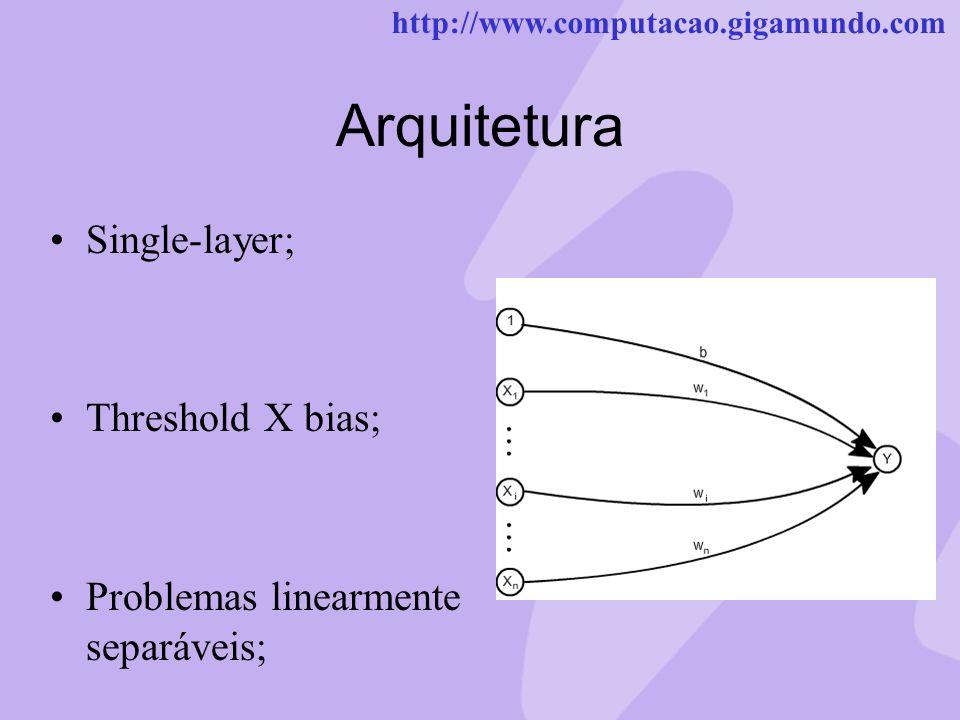 http://www.computacao.gigamundo.com Arquitetura Single-layer; Threshold X bias; Problemas linearmente separáveis;