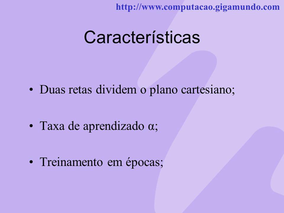 http://www.computacao.gigamundo.com Características Duas retas dividem o plano cartesiano; Taxa de aprendizado α; Treinamento em épocas;