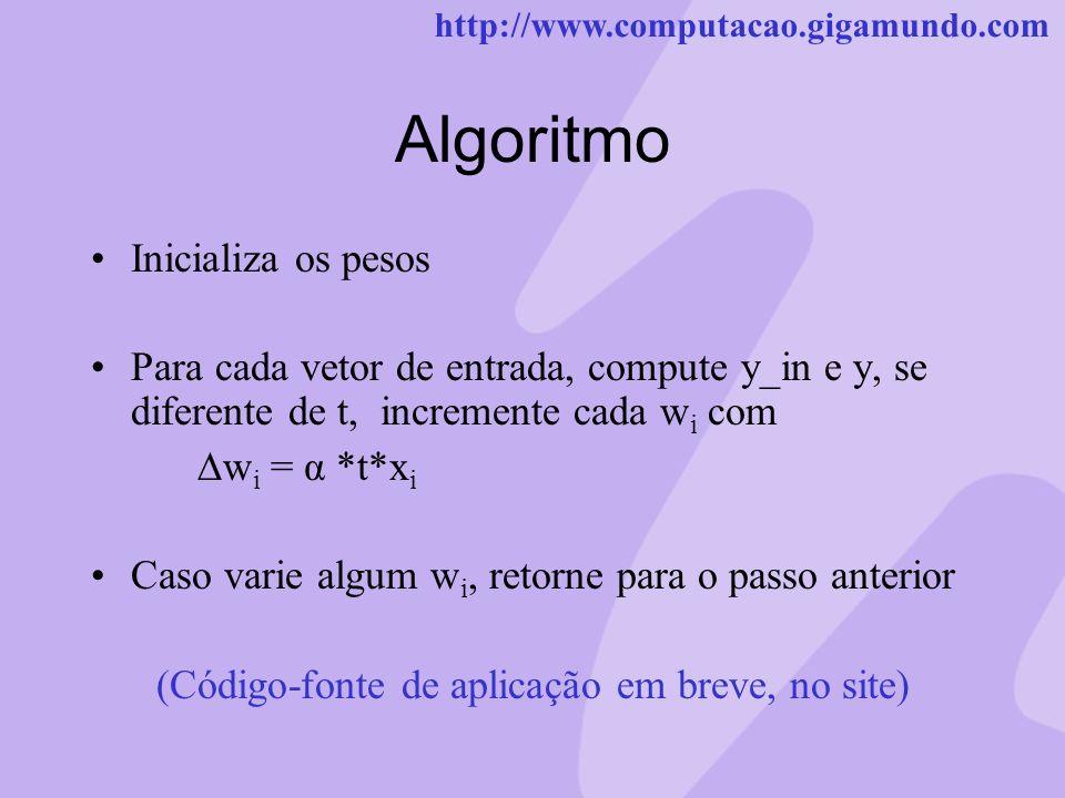 http://www.computacao.gigamundo.com Algoritmo Inicializa os pesos Para cada vetor de entrada, compute y_in e y, se diferente de t, incremente cada w i