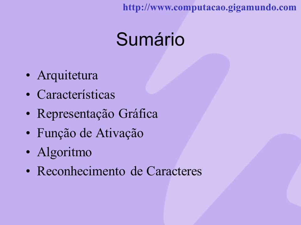 http://www.computacao.gigamundo.com Sumário Arquitetura Características Representação Gráfica Função de Ativação Algoritmo Reconhecimento de Caractere