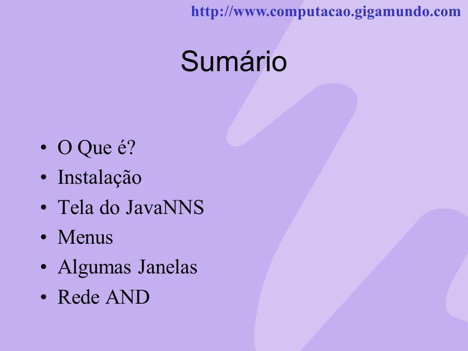 http://www.computacao.gigamundo.com Sumário O Que é? Instalação Tela do JavaNNS Menus Algumas Janelas Rede AND