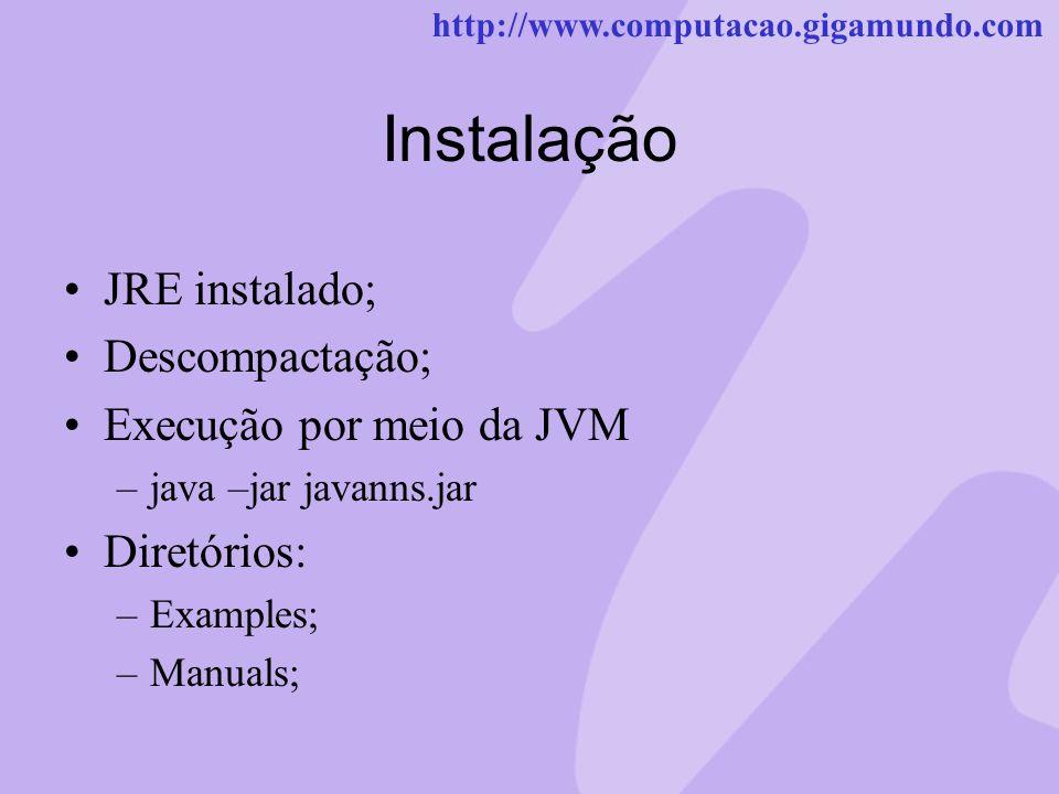 http://www.computacao.gigamundo.com Instalação JRE instalado; Descompactação; Execução por meio da JVM –java –jar javanns.jar Diretórios: –Examples; –