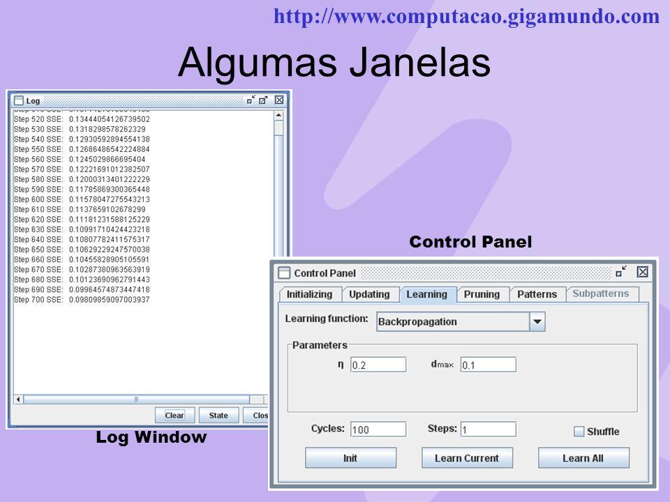 http://www.computacao.gigamundo.com Algumas Janelas Log Window Control Panel