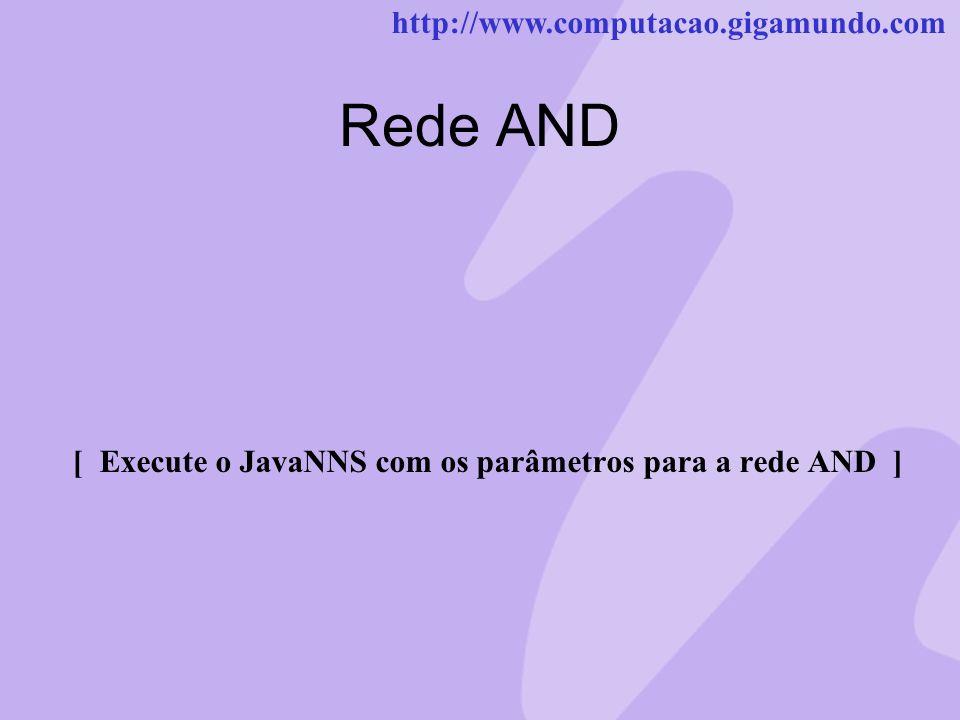 http://www.computacao.gigamundo.com Rede AND [ Execute o JavaNNS com os parâmetros para a rede AND ]
