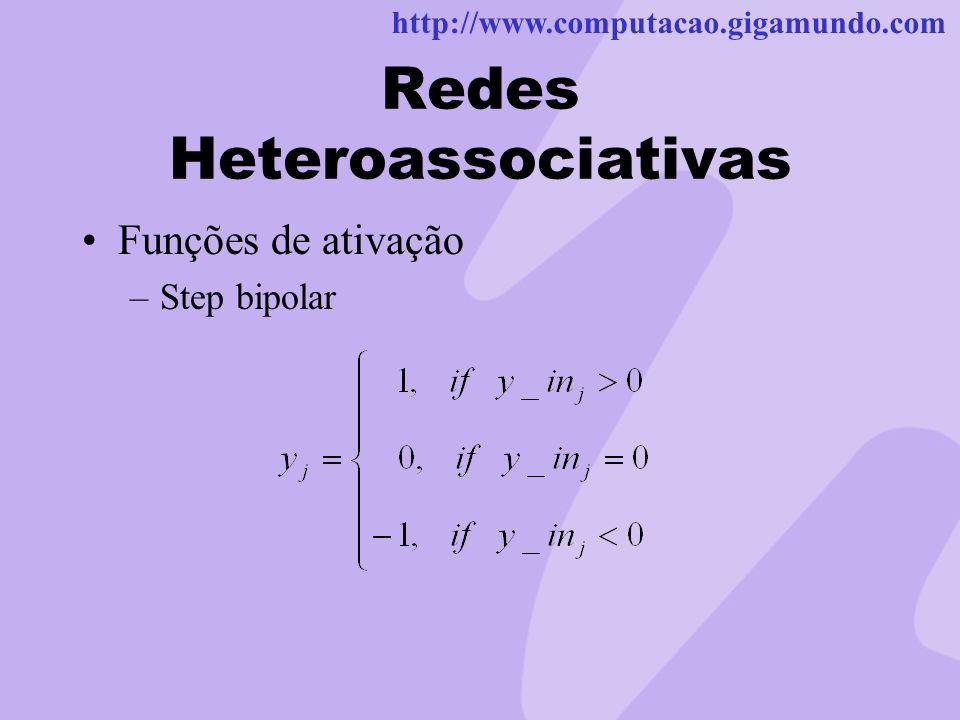 http://www.computacao.gigamundo.com Redes Heteroassociativas Funções de ativação –Step bipolar