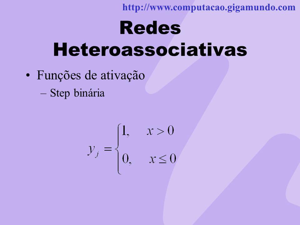 http://www.computacao.gigamundo.com Redes Heteroassociativas Funções de ativação –Step binária