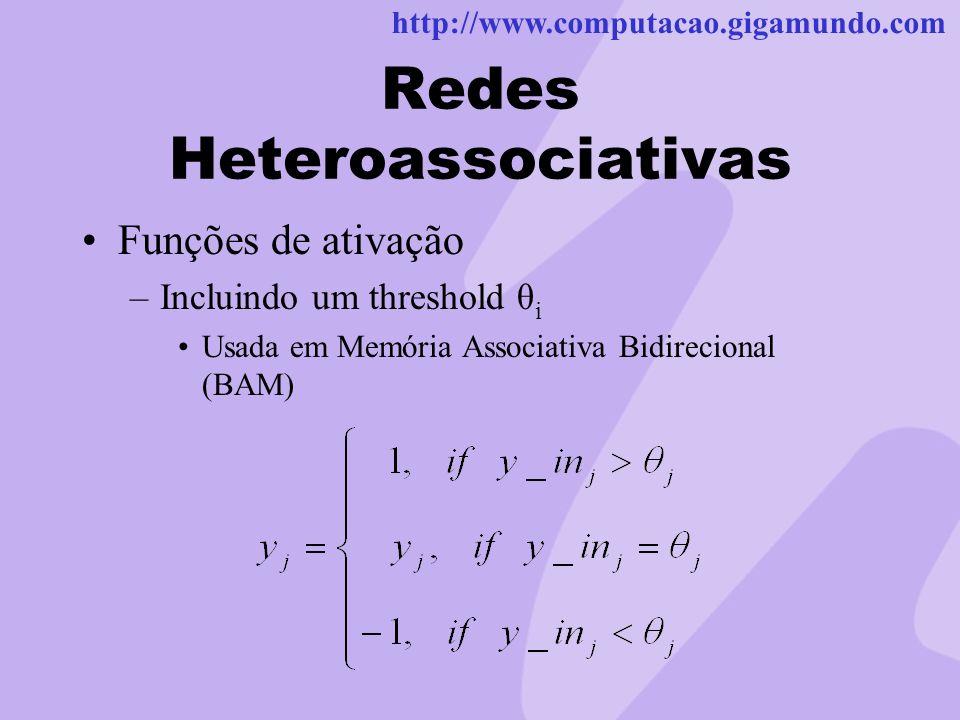 http://www.computacao.gigamundo.com Redes Heteroassociativas Funções de ativação –Incluindo um threshold θ i Usada em Memória Associativa Bidirecional