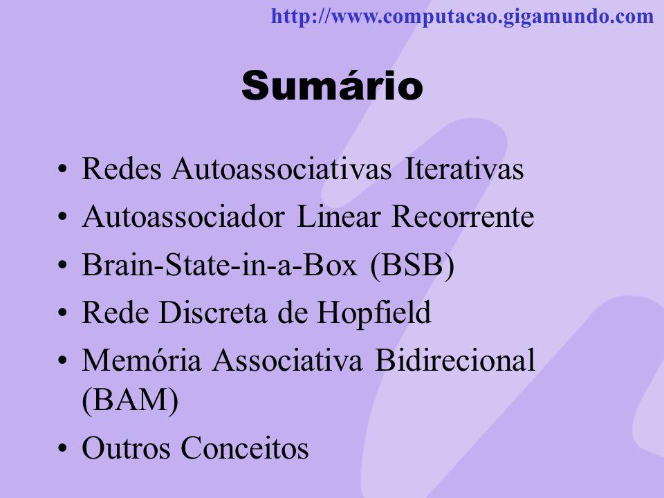 http://www.computacao.gigamundo.com Sumário Redes Autoassociativas Iterativas Autoassociador Linear Recorrente Brain-State-in-a-Box (BSB) Rede Discret