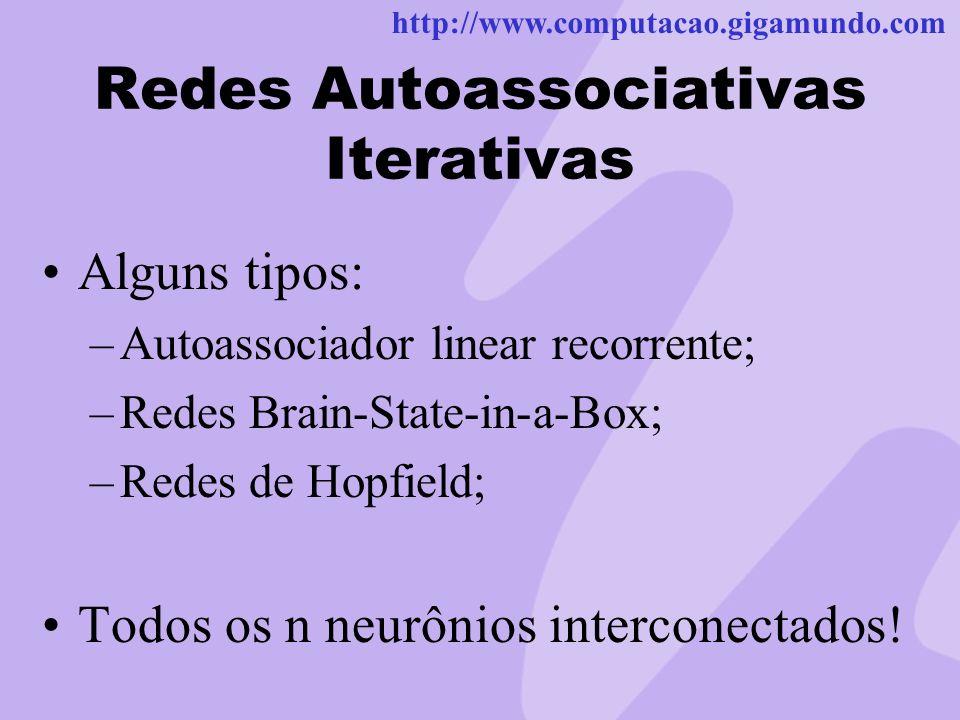 http://www.computacao.gigamundo.com Redes Autoassociativas Iterativas Alguns tipos: –Autoassociador linear recorrente; –Redes Brain-State-in-a-Box; –R