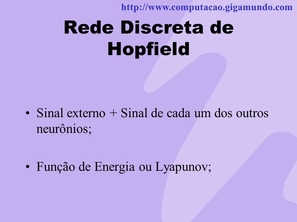 http://www.computacao.gigamundo.com Rede Discreta de Hopfield Sinal externo + Sinal de cada um dos outros neurônios; Função de Energia ou Lyapunov;