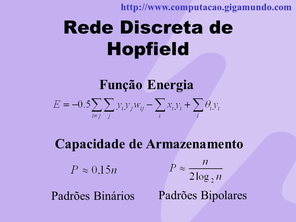 http://www.computacao.gigamundo.com Rede Discreta de Hopfield Função Energia Capacidade de Armazenamento Padrões Binários Padrões Bipolares