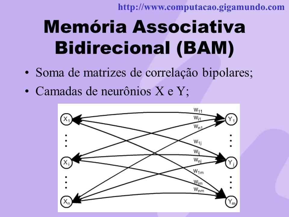 http://www.computacao.gigamundo.com Memória Associativa Bidirecional (BAM) Soma de matrizes de correlação bipolares; Camadas de neurônios X e Y;