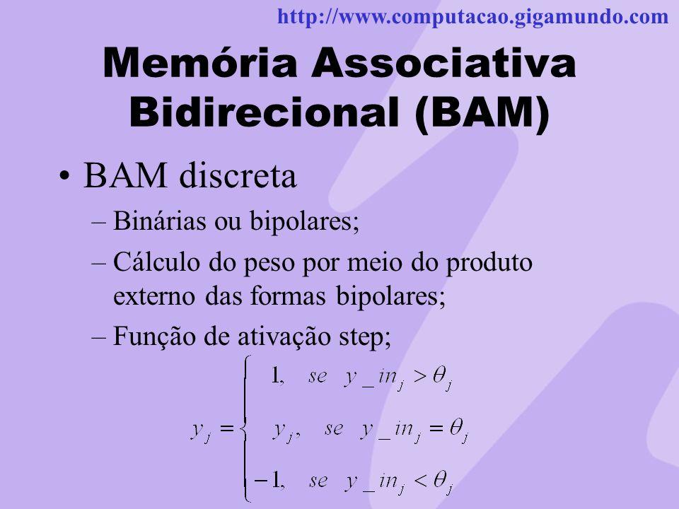 http://www.computacao.gigamundo.com Memória Associativa Bidirecional (BAM) BAM discreta –Binárias ou bipolares; –Cálculo do peso por meio do produto e