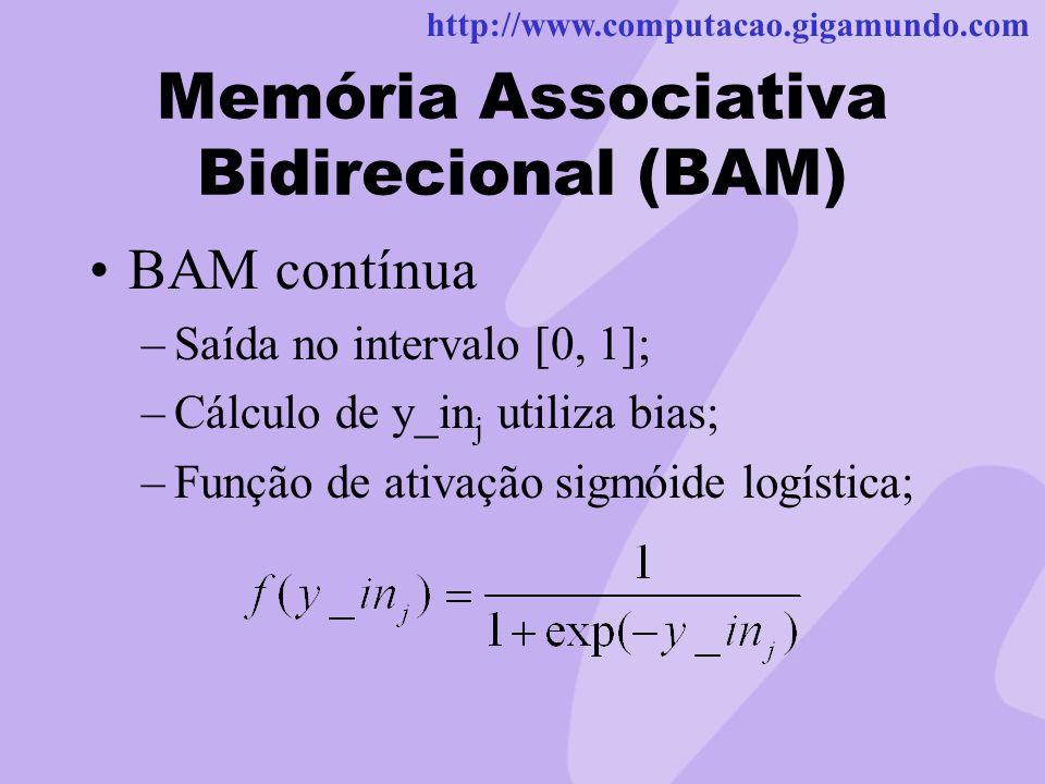http://www.computacao.gigamundo.com Memória Associativa Bidirecional (BAM) BAM contínua –Saída no intervalo [0, 1]; –Cálculo de y_in j utiliza bias; –