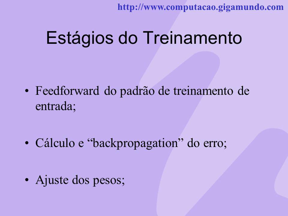 http://www.computacao.gigamundo.com Estágios do Treinamento Feedforward do padrão de treinamento de entrada; Cálculo e backpropagation do erro; Ajuste