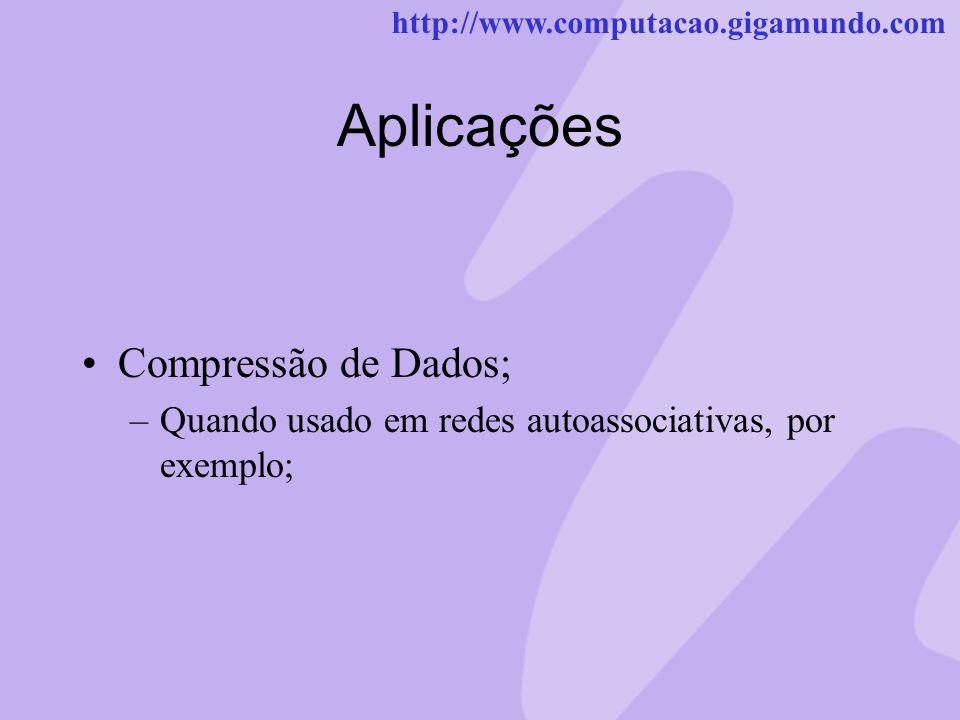 http://www.computacao.gigamundo.com Aplicações Compressão de Dados; –Quando usado em redes autoassociativas, por exemplo;