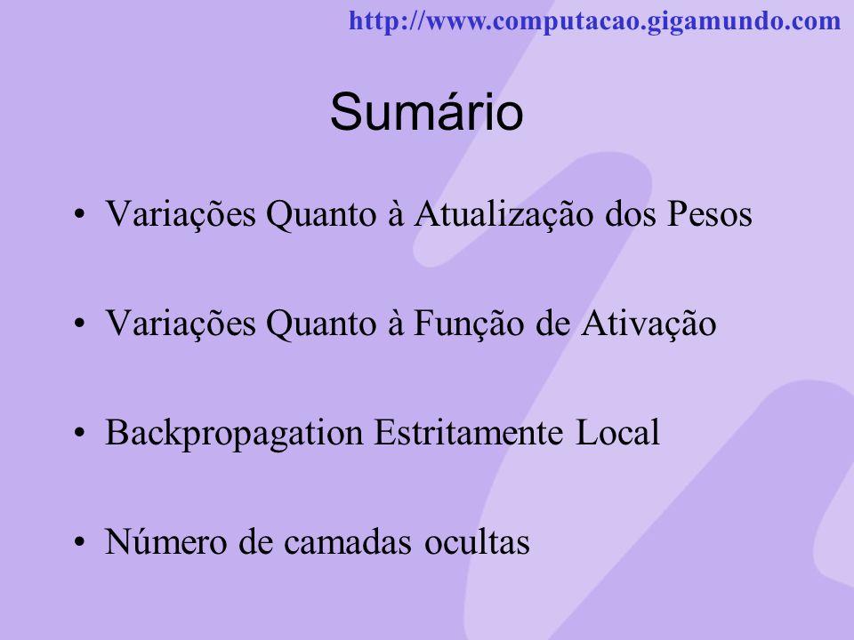 http://www.computacao.gigamundo.com Sumário Variações Quanto à Atualização dos Pesos Variações Quanto à Função de Ativação Backpropagation Estritament