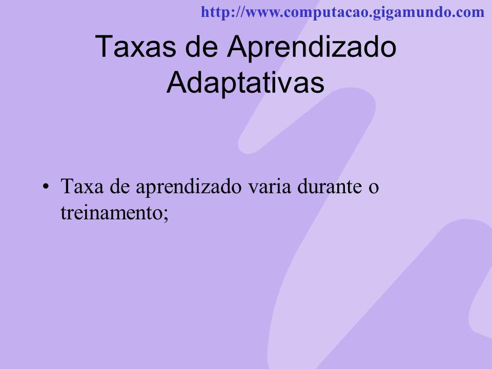 http://www.computacao.gigamundo.com Taxas de Aprendizado Adaptativas Taxa de aprendizado varia durante o treinamento;