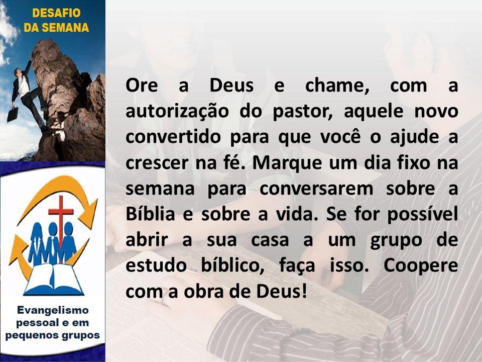 Ore a Deus e chame, com a autorização do pastor, aquele novo convertido para que você o ajude a crescer na fé. Marque um dia fixo na semana para conve