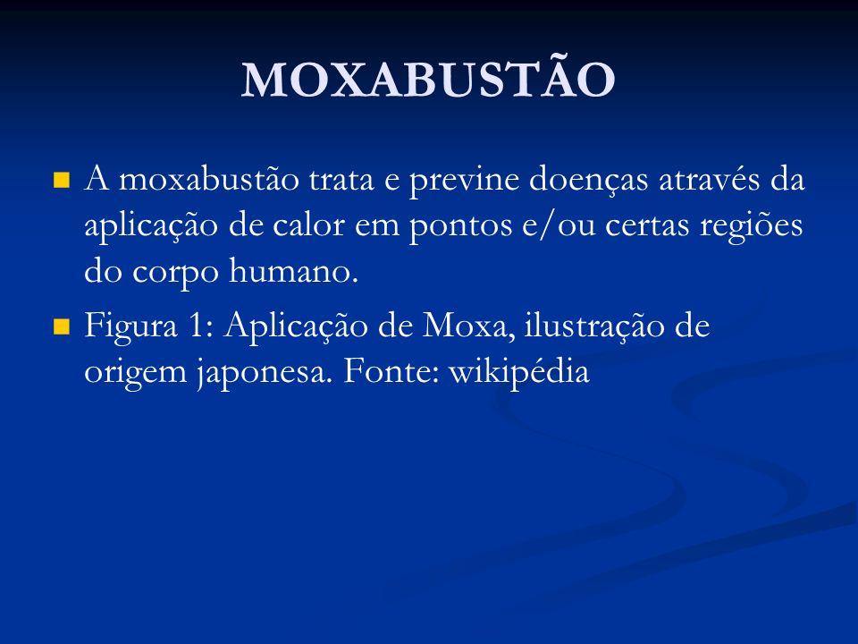MOXABUSTÃO A moxabustão trata e previne doenças através da aplicação de calor em pontos e/ou certas regiões do corpo humano. Figura 1: Aplicação de Mo