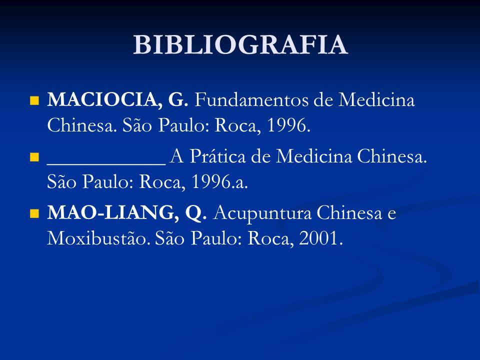 BIBLIOGRAFIA MACIOCIA, G. Fundamentos de Medicina Chinesa. São Paulo: Roca, 1996. ___________ A Prática de Medicina Chinesa. São Paulo: Roca, 1996.a.