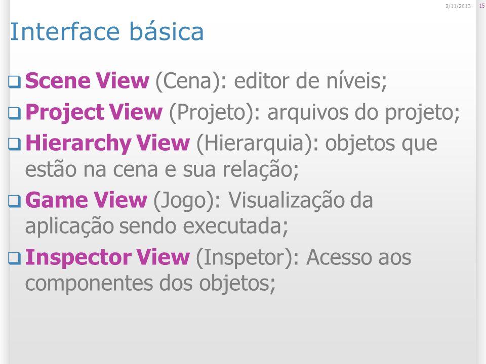 Interface básica Scene View (Cena): editor de níveis; Project View (Projeto): arquivos do projeto; Hierarchy View (Hierarquia): objetos que estão na c