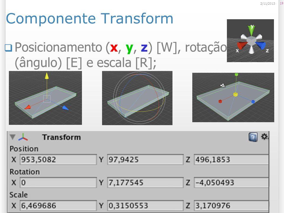Componente Transform Posicionamento (x, y, z) [W], rotação (ângulo) [E] e escala [R]; 19 2/11/2013