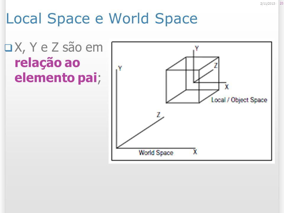 Local Space e World Space X, Y e Z são em relação ao elemento pai; 20 2/11/2013