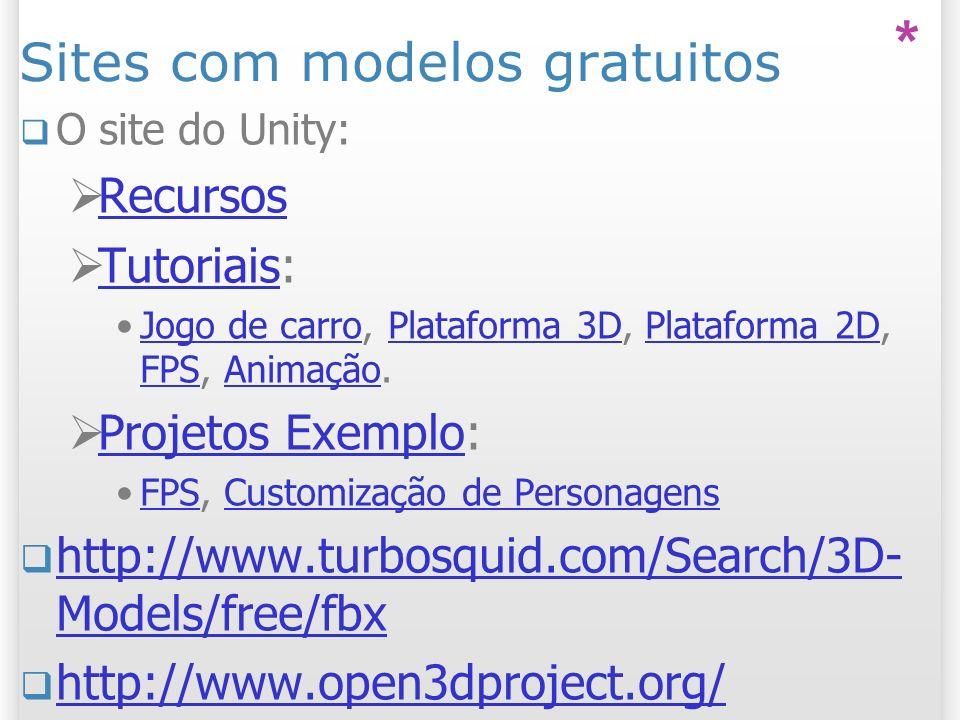 Sites com modelos gratuitos O site do Unity: Recursos Tutoriais: Tutoriais Jogo de carro, Plataforma 3D, Plataforma 2D, FPS, Animação.Jogo de carroPla