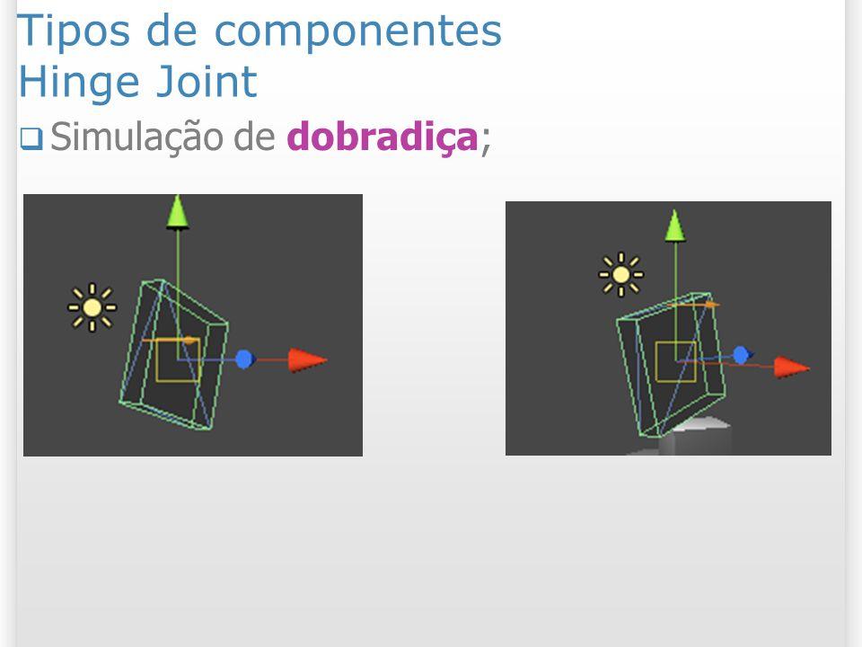 Tipos de componentes Hinge Joint Simulação de dobradiça;