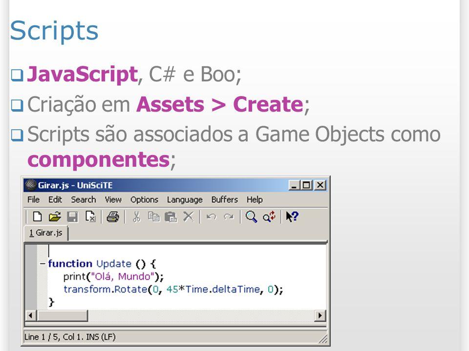 Scripts JavaScript, C# e Boo; Criação em Assets > Create; Scripts são associados a Game Objects como componentes;