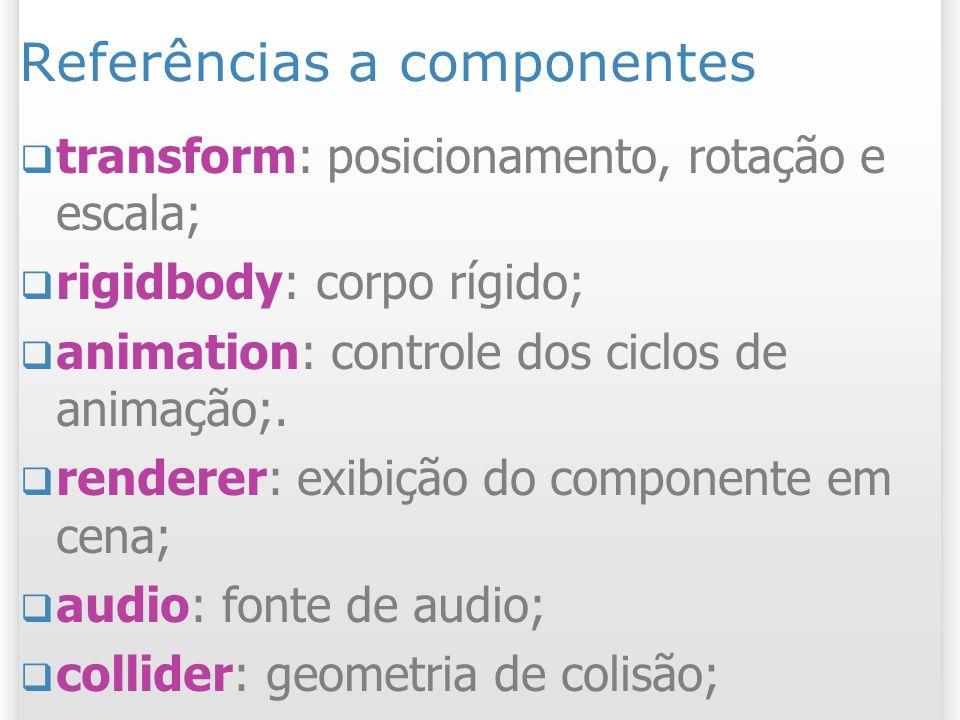 Referências a componentes transform: posicionamento, rotação e escala; rigidbody: corpo rígido; animation: controle dos ciclos de animação;. renderer: