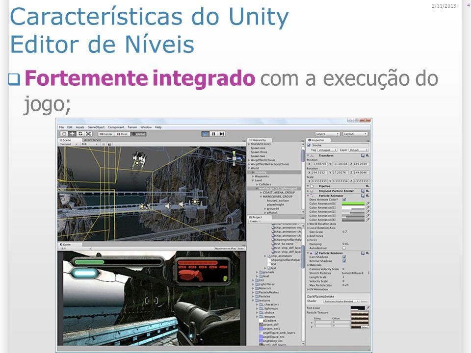 Características do Unity Editor de Níveis Fortemente integrado com a execução do jogo; 4 2/11/2013