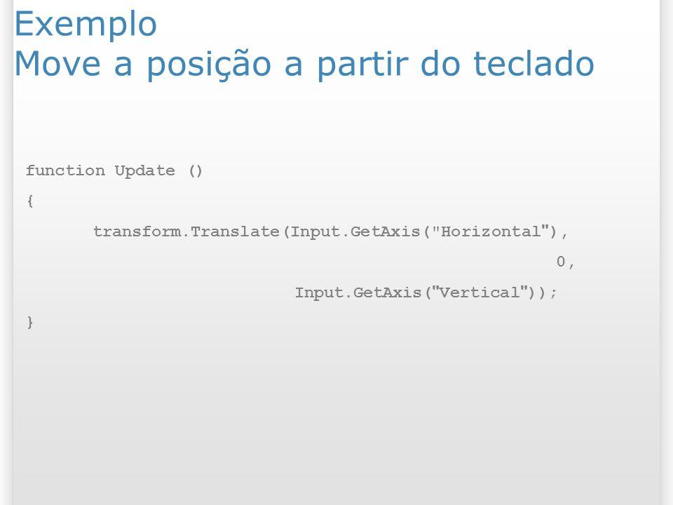 Exemplo Move a posição a partir do teclado function Update () { transform.Translate(Input.GetAxis(