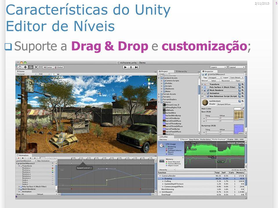 Navegação na Scene View Principais Atalhos: Q, W, E, R; ALT + mouse; Leitura altamente recomendada: http://unity3d.com/support/documentation/ Manual/Learning%20the%20Interface.html http://unity3d.com/support/documentation/ Manual/Learning%20the%20Interface.html http://docwiki.unity3d.com/uploads/Main/G UI%20Essentials.pdf http://docwiki.unity3d.com/uploads/Main/G UI%20Essentials.pdf 16 2/11/2013