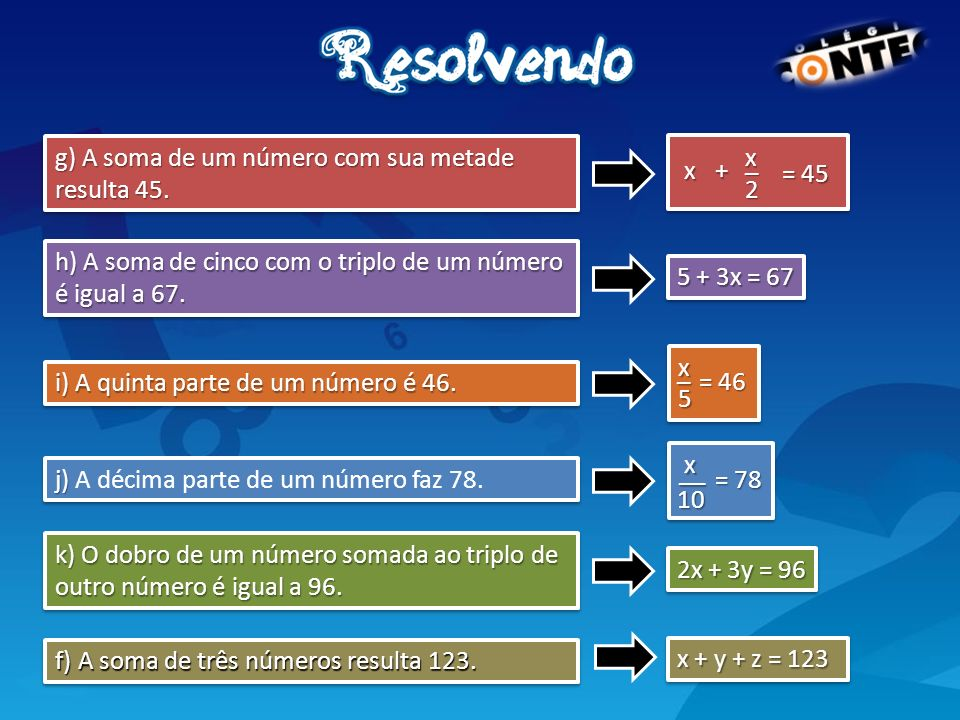 i) A quinta parte de um número é 46. j) j) A décima parte de um número faz 78. g) A soma de um número com sua metade resulta 45. h) A soma de cinco co