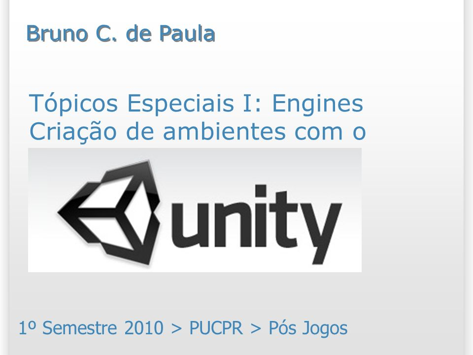 Resumo Vamos conhecer as funcionalidades para criação de ambientes usando a engine Unity 3D; Além disso, vamos discutir sobre alguns conceitos relacionados a ambientes que são comuns a qualquer engine gráfica 3D; Nosso foco será a criação de terrenos.