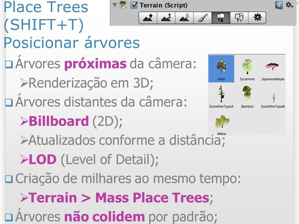 Place Trees (SHIFT+T) Posicionar árvores Árvores próximas da câmera: Renderização em 3D; Árvores distantes da câmera: Billboard (2D); Atualizados conf