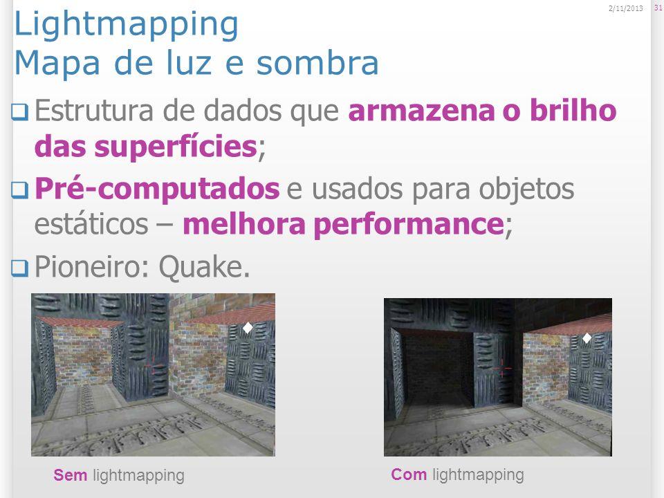 Lightmapping Mapa de luz e sombra Estrutura de dados que armazena o brilho das superfícies; Pré-computados e usados para objetos estáticos – melhora p