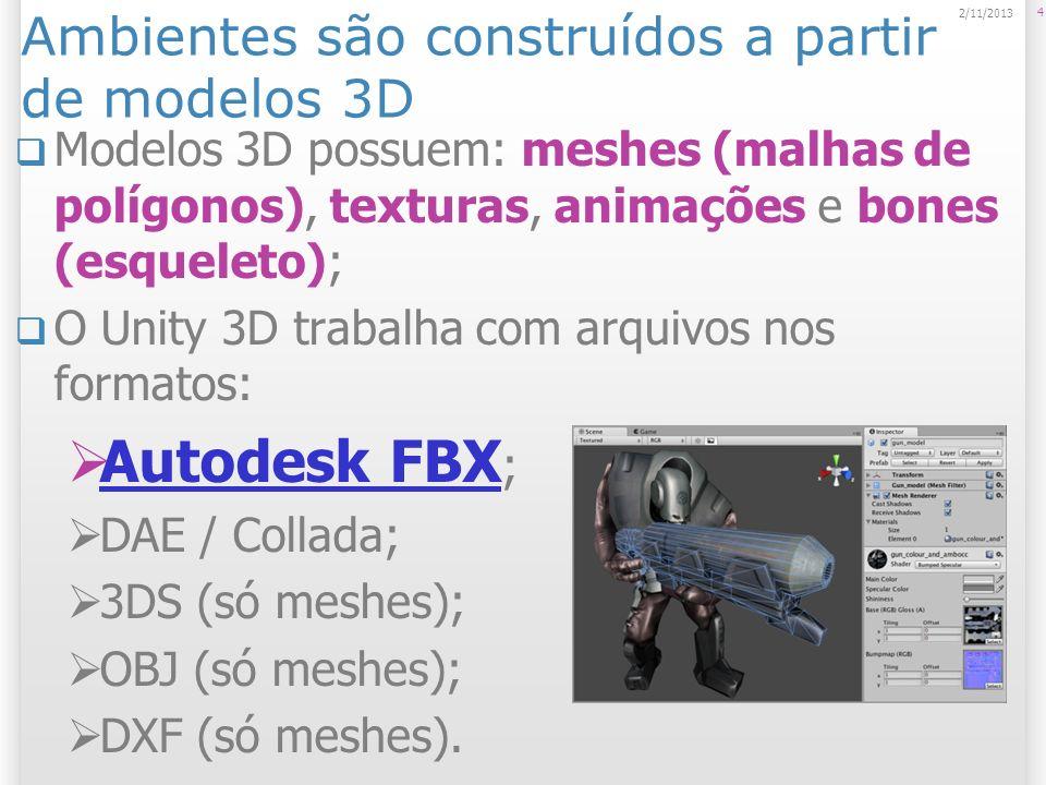 Modelos podem ser importados a partir de ferramentas externas de uso geral Maya (Autodesk – comercial – US$ 3000); Maya 3D Studio Max (Autodesk – comercial – US$ 3000); 3D Studio Max Cheetah 3D (Martin Wengenmayer – comercial – US$ 149,00); Cheetah 3D Cinema 4D (GmbH – comercial – ~ US$ 700,00); Cinema 4D 5 2/11/2013