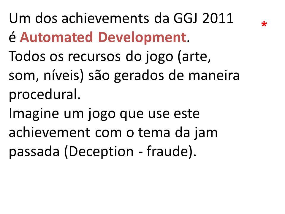Um dos achievements da GGJ 2011 é Automated Development. Todos os recursos do jogo (arte, som, níveis) são gerados de maneira procedural. Imagine um j
