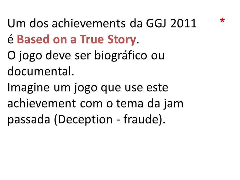Um dos achievements da GGJ 2011 é Based on a True Story. O jogo deve ser biográfico ou documental. Imagine um jogo que use este achievement com o tema