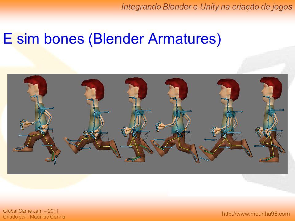 Global Game Jam – 2011 Criado por : Mauricio Cunha Integrando Blender e Unity na criação de jogos http://www.mcunha98.com E sim bones (Blender Armatur