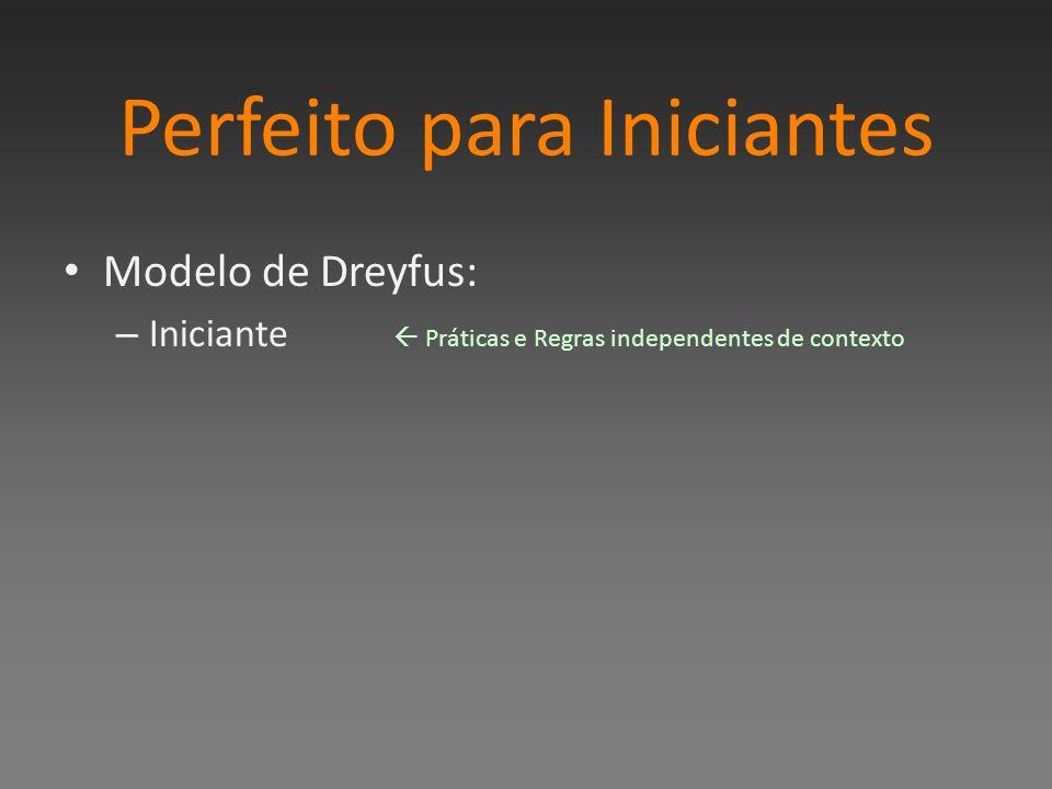 Perfeito para Iniciantes Modelo de Dreyfus: – Iniciante Práticas e Regras independentes de contexto