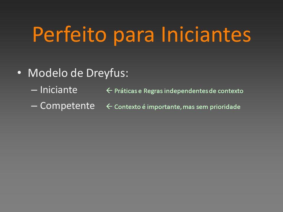 Perfeito para Iniciantes Modelo de Dreyfus: – Iniciante Práticas e Regras independentes de contexto – Competente Contexto é importante, mas sem prioridade