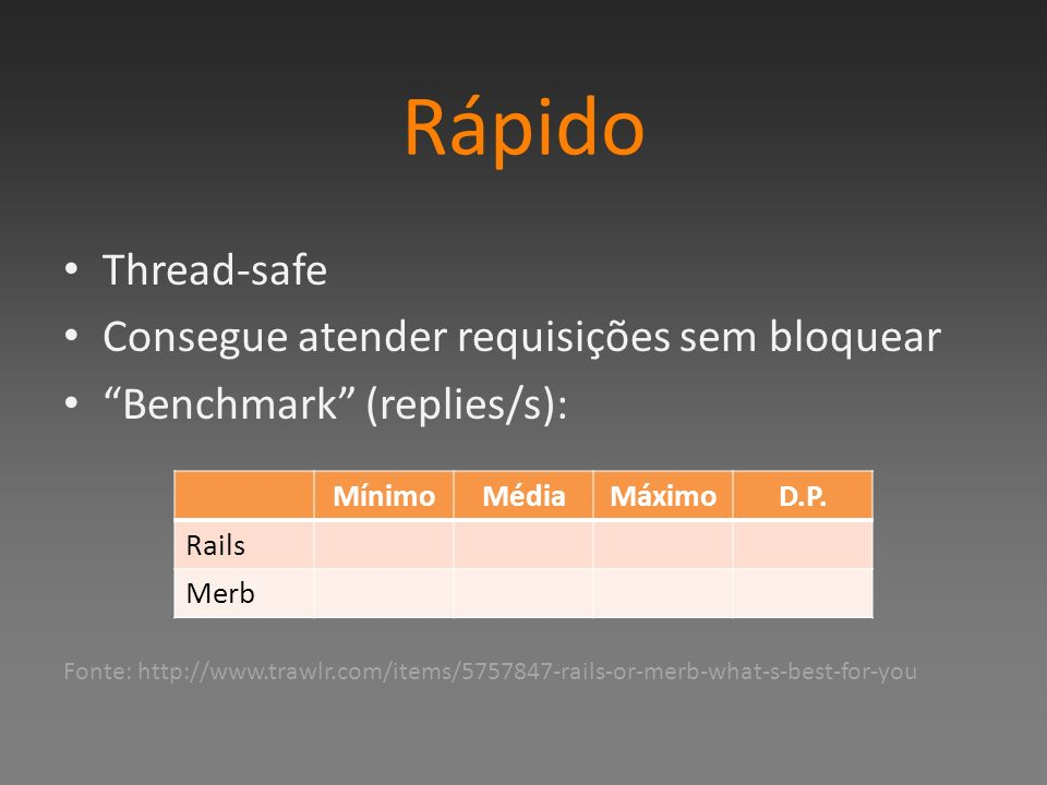 Rápido Thread-safe Consegue atender requisições sem bloquear Benchmark (replies/s): Fonte: http://www.trawlr.com/items/5757847-rails-or-merb-what-s-be